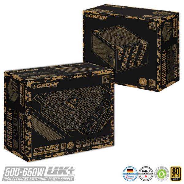 منبع تغذيه کامپيوتر گرین GP650A-UK Plus