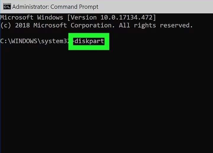 """دستور """"partition"""" را وارد کنید."""