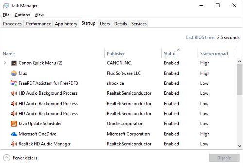 در ویندوز 10 ، به برگه راه اندازی در قسمت Task Manager بروید.