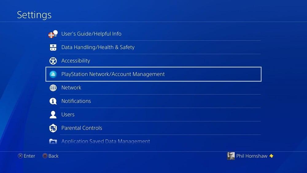 وارد PS4 خود شوید و به منوی تنظیمات یا settings بروید