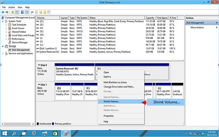 مرحله 2 Windows 10 Disk Management