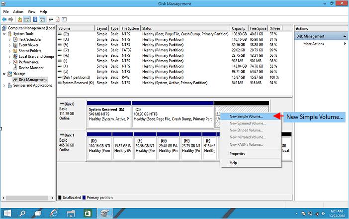 مرحله 3 و 4 Windows 10 Disk Management
