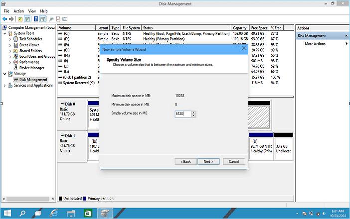 مرحله 5 Windows 10 Disk Management