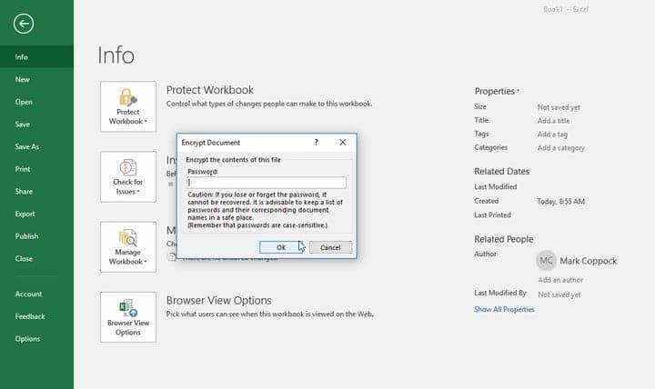 نحوه محافظت از یک فایل اکسل با رمز عبور