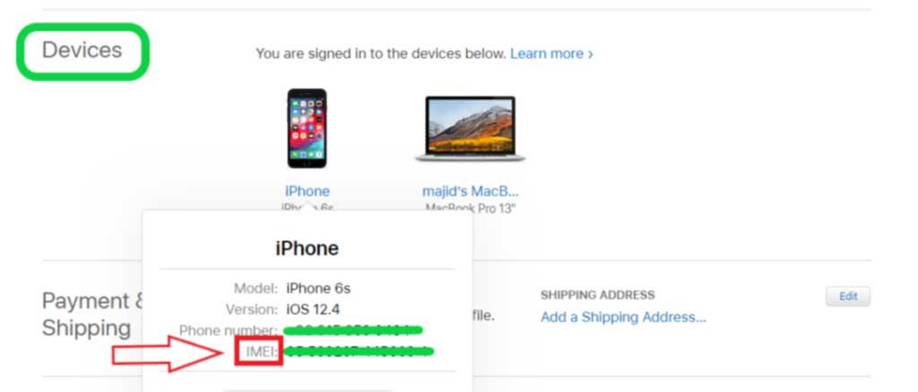 یافتن کد IMEI با اپل آیدی