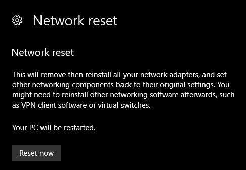ریست کردن شبکه