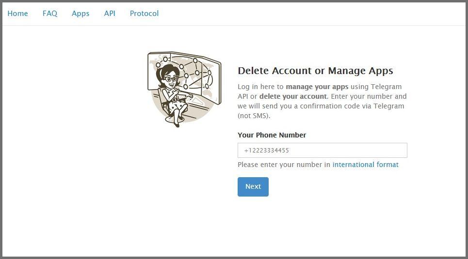 حذف اکانت تلگرام- وارد کردن شماره