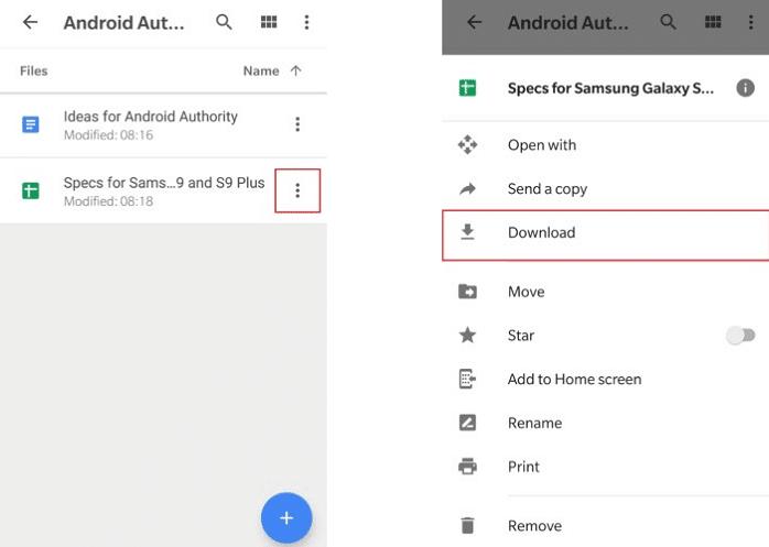 دانلود فایل از گوگل درایو در گوشی موبایل