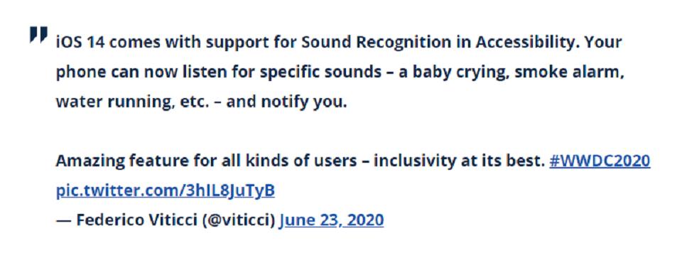 ویژگی های iOS 14 : تشخیص صدا