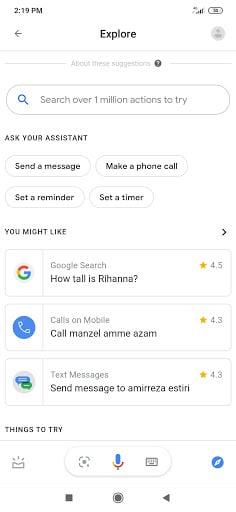 دستیار گوگل : ضربه زدن بر روی علامت قطب نما
