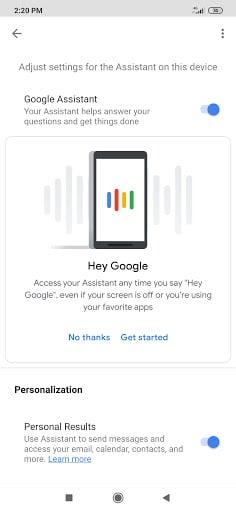 دستیار گوگل : انتخاب دستگاه