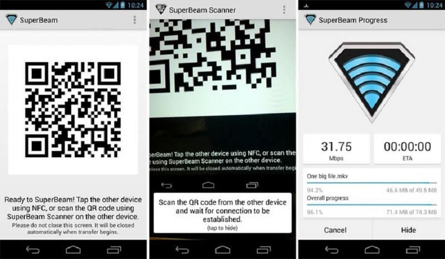 بهترین برنامه های اشتراک گذاری فایل اندروید : SuperBeam