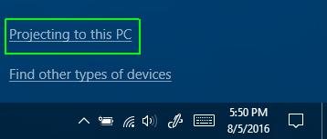 در این قسمت بر روی Projecting to this PC کلیک کنید