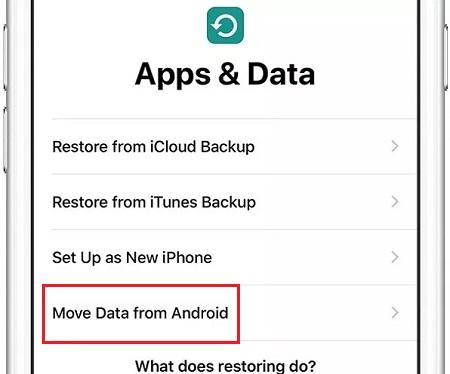 در ایفون خود به بخش Apps & Data بروید