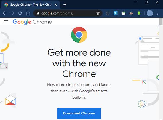 برنامه کاربردی برای جستجو در اینترنت Google Chrome