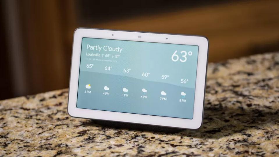 نمایش پیش بینی آب و هوا توسط Google Nest Hub