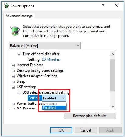 تنظیمات USB و USB selective suspend را گسترش دهید.