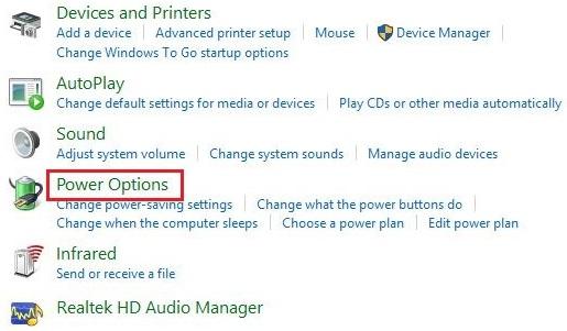 از تنظیمات کنترل پنل بر روی Power Options کلیک کنید.