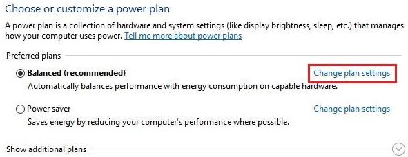 گزینه Change Plan Settings را در برنامه های ترجیحی (انتخابی) انتخاب کنید.