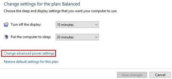 بر روی Change Advanced power settings کلیک کنید.