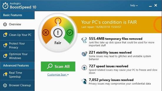 نرم افزار پاکسازی و بهینه سازی ویندوز  Auslogics BoostSpeed