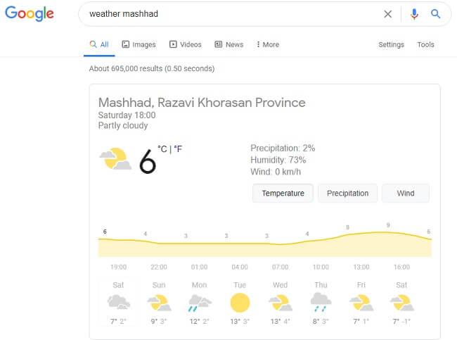 جستجو آب و هوا در گوگل