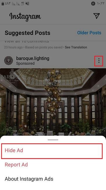 حذف تبلیغات اینستاگرام با زدن گزینه Hide Ad (پنهان کردن)