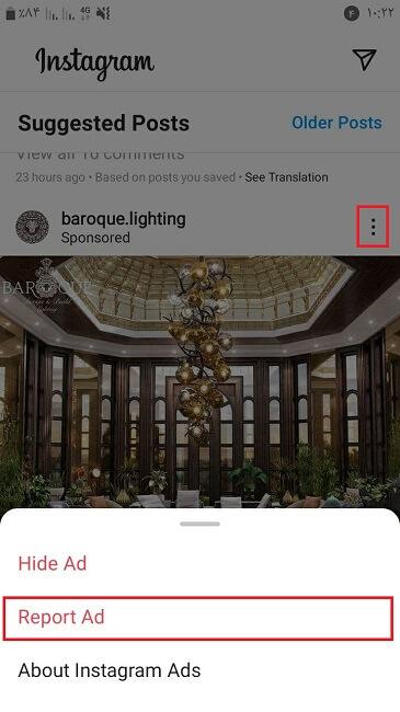 حذف تبلیغات اینستاگرام با زدن گزینه Report Ad (گزارش دادن)