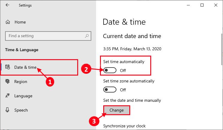 تغییر تنظیمات خودکار زمان