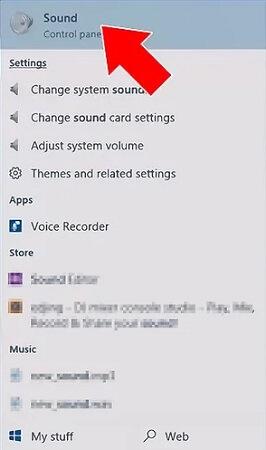 تنظیمات صدا در ویندوز و کلیک بر روی گزینه sound