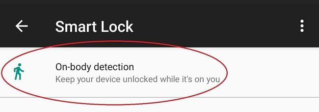 باز کردن قفل صفحه با قابلیت تشخیص بدن on-Body Detection