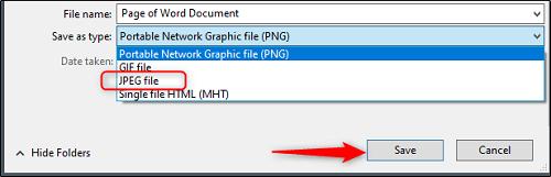 ذخیره تصویر با فرمت JPEG