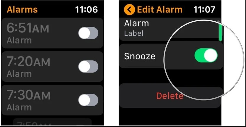 خاموش کردن snooze برای آلارم ها