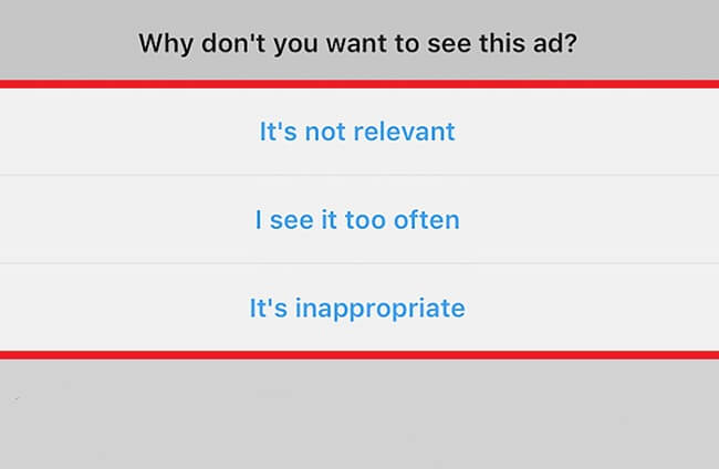 گزینه های محدود سازی تبلیغات اینستاگرام