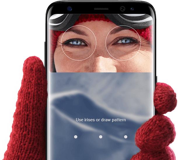 استفاده از اسکنر عنبیه چشم (Iris) برای باز کردن قفل صفحه گوشی در زمان استفاده از ماسک و دستکش