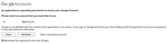 اجازه دسترسی به حساب کاربری گوگل
