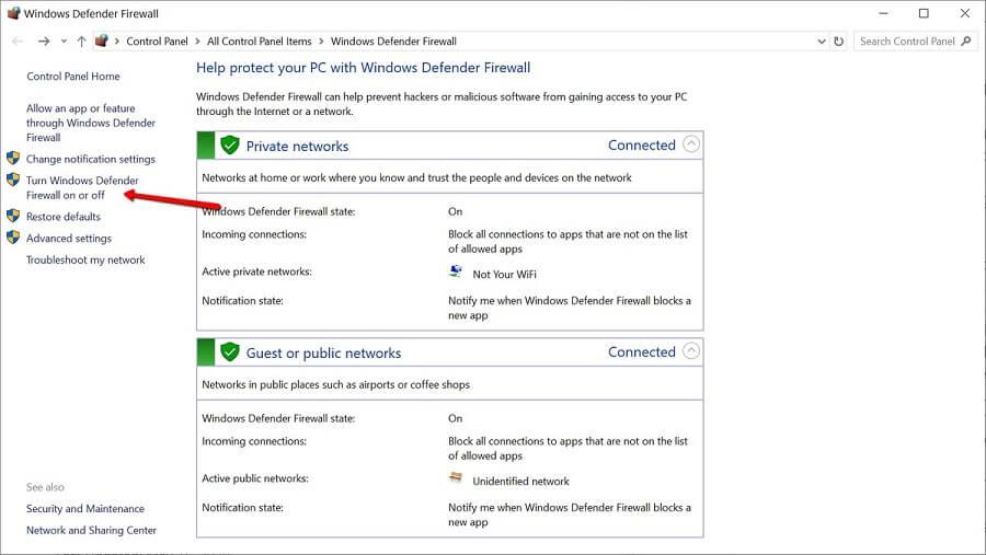 اولین قدم برای خاموش کردن فایروال، ورود به بخش windows defender