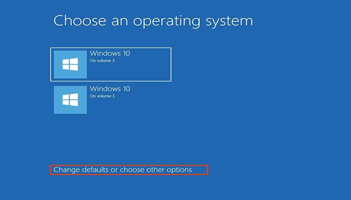 """گزینه """"Change defaults or choose other options""""  انتخاب کنید."""
