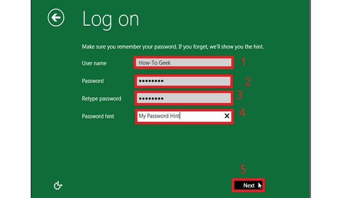 انتخاب نام و رمز عبور برای ورود به سیستم.