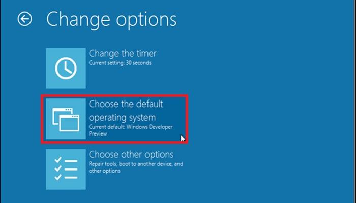 """گزینه """"choose the default operating system"""" را انتخاب کنید."""