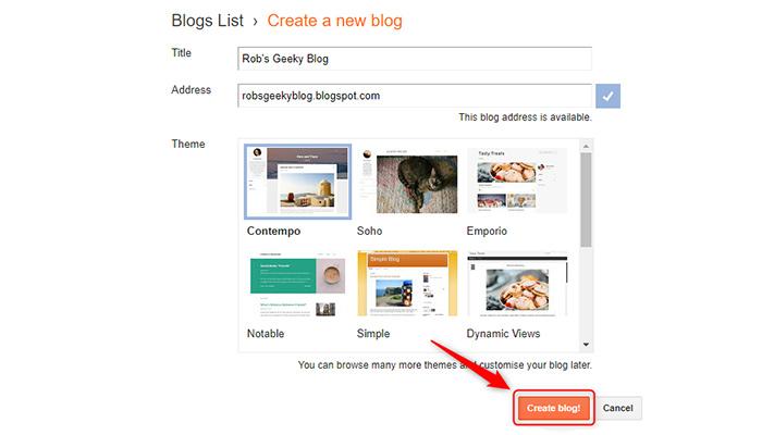 """بر روی گزینه """"Create Blog"""" کلیک کنید."""