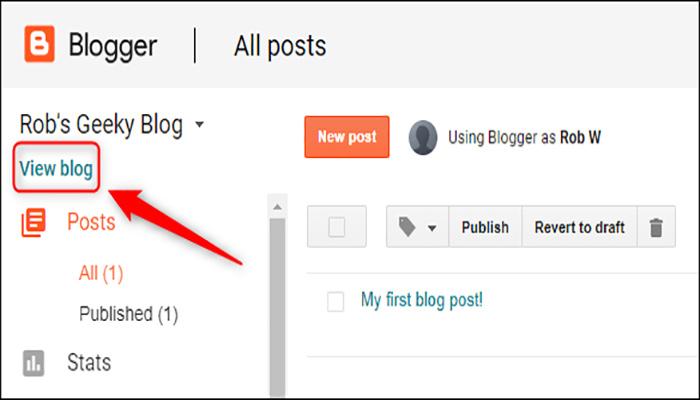 """بر روی گزینه """"View Blog"""" کلیک کنید."""