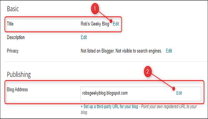 """بر روی گزینه های تغییر عنوان """"Title Edit"""" و تغییر آدرس وبلاگ """"Blog Address Edit"""" کلیک کنید."""