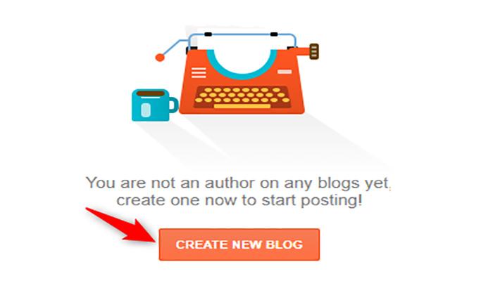 """بر روی دکمه """"Create a New Blog"""" کلیک کنید."""