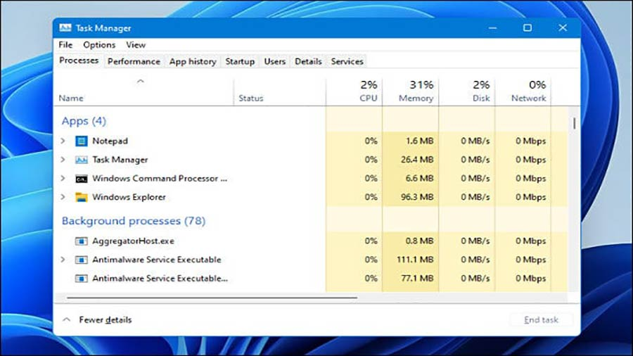 Task Manager ویندوز 11